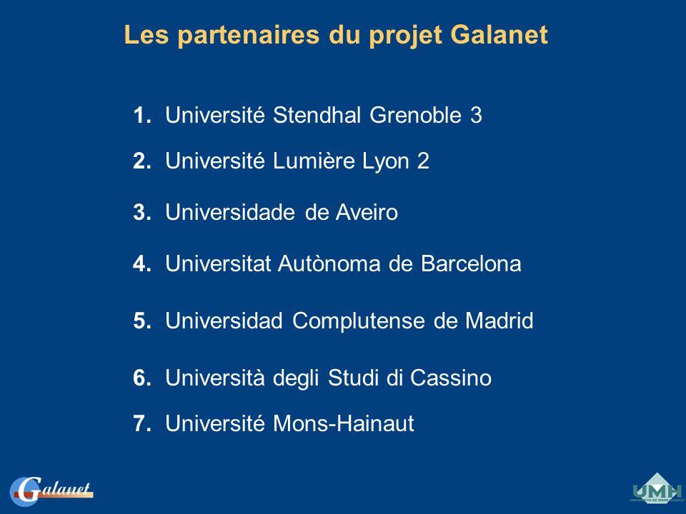 Les partenaires du projet Galanet 1. Université Stendhal Grenoble 3 2. Université Lumière Lyon 2 3. Universidade de Aveiro 4. Universitat Autònoma de