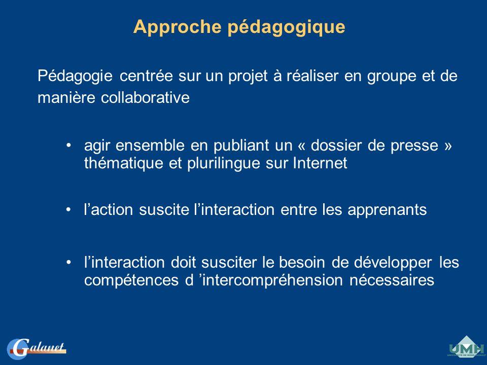 Approche pédagogique Pédagogie centrée sur un projet à réaliser en groupe et de manière collaborative agir ensemble en publiant un « dossier de presse