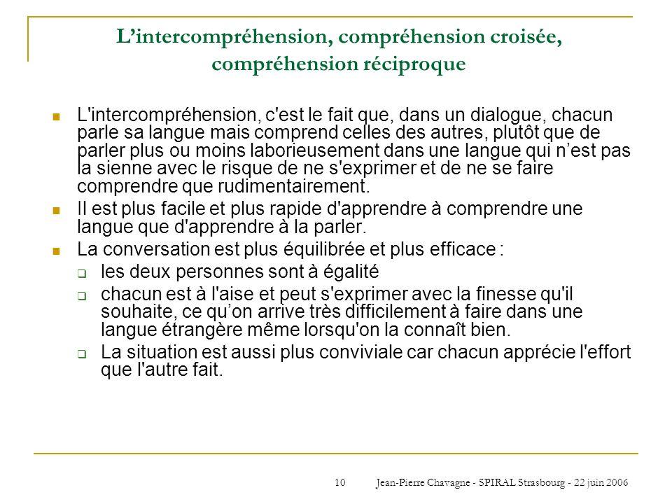 Jean-Pierre Chavagne - SPIRAL Strasbourg - 22 juin 200610 Lintercompréhension, compréhension croisée, compréhension réciproque L'intercompréhension, c