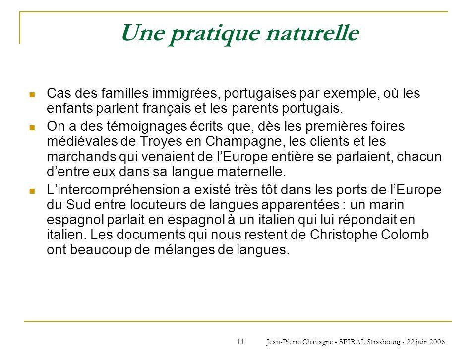 Jean-Pierre Chavagne - SPIRAL Strasbourg - 22 juin 200611 Une pratique naturelle Cas des familles immigrées, portugaises par exemple, où les enfants p