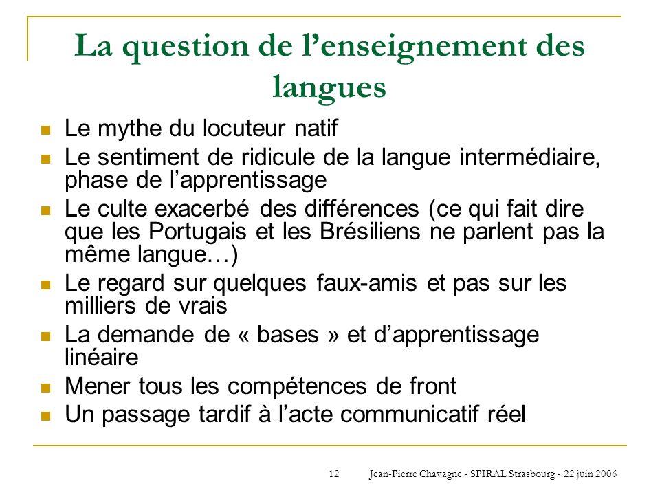 Jean-Pierre Chavagne - SPIRAL Strasbourg - 22 juin 200612 La question de lenseignement des langues Le mythe du locuteur natif Le sentiment de ridicule