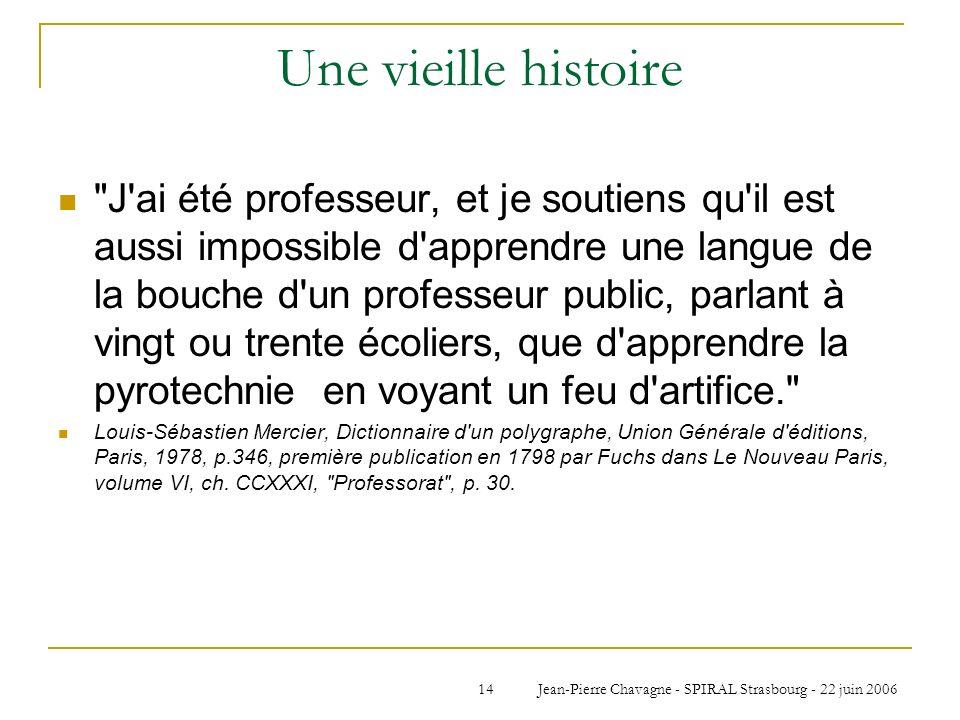 Jean-Pierre Chavagne - SPIRAL Strasbourg - 22 juin 200614 Une vieille histoire