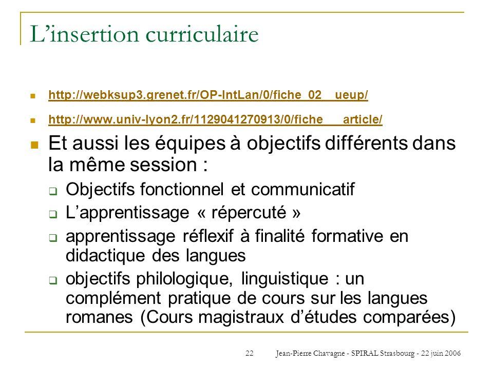 Jean-Pierre Chavagne - SPIRAL Strasbourg - 22 juin 200622 Linsertion curriculaire http://webksup3.grenet.fr/OP-IntLan/0/fiche_02__ueup/ http://www.uni