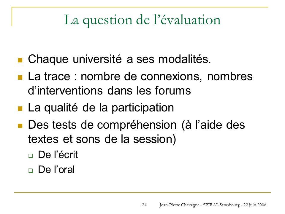Jean-Pierre Chavagne - SPIRAL Strasbourg - 22 juin 200624 La question de lévaluation Chaque université a ses modalités. La trace : nombre de connexion