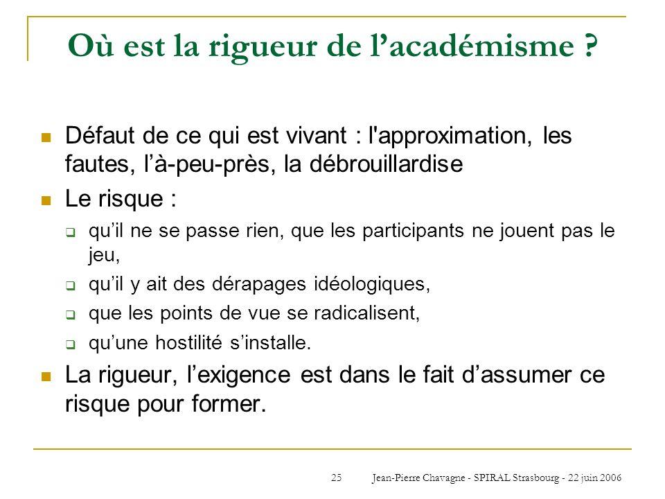 Jean-Pierre Chavagne - SPIRAL Strasbourg - 22 juin 200625 Où est la rigueur de lacadémisme ? Défaut de ce qui est vivant : l'approximation, les fautes