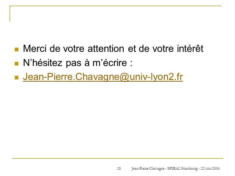 Jean-Pierre Chavagne - SPIRAL Strasbourg - 22 juin 200628 Merci de votre attention et de votre intérêt Nhésitez pas à mécrire : Jean-Pierre.Chavagne@u