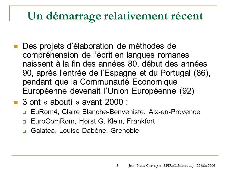 Jean-Pierre Chavagne - SPIRAL Strasbourg - 22 juin 20063 Un démarrage relativement récent Des projets délaboration de méthodes de compréhension de léc