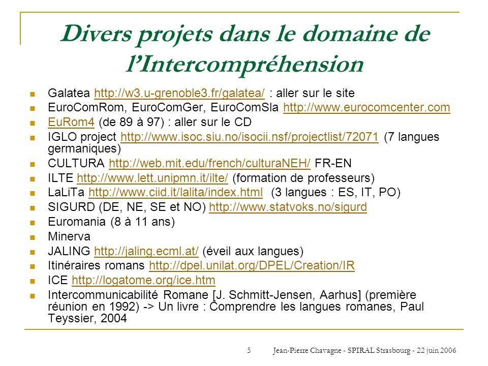 Jean-Pierre Chavagne - SPIRAL Strasbourg - 22 juin 20065 Divers projets dans le domaine de lIntercompréhension Galatea http://w3.u-grenoble3.fr/galate