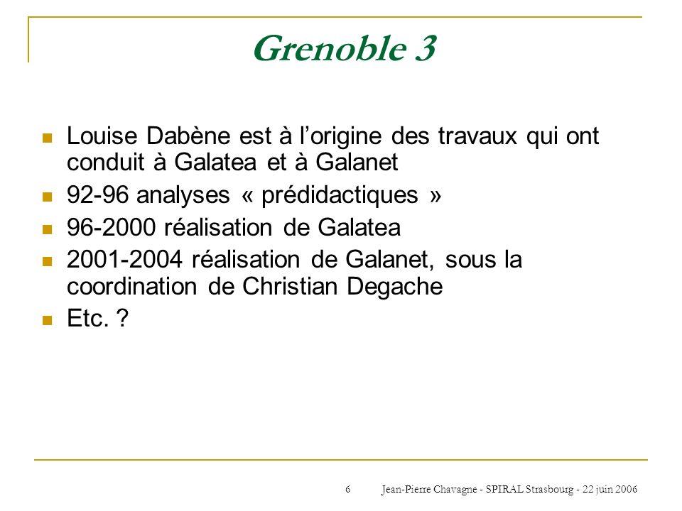 Jean-Pierre Chavagne - SPIRAL Strasbourg - 22 juin 20066 Grenoble 3 Louise Dabène est à lorigine des travaux qui ont conduit à Galatea et à Galanet 92