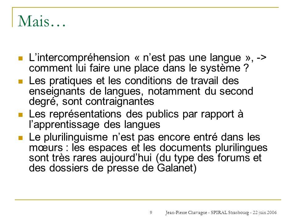 Jean-Pierre Chavagne - SPIRAL Strasbourg - 22 juin 20069 Mais… Lintercompréhension « nest pas une langue », -> comment lui faire une place dans le sys