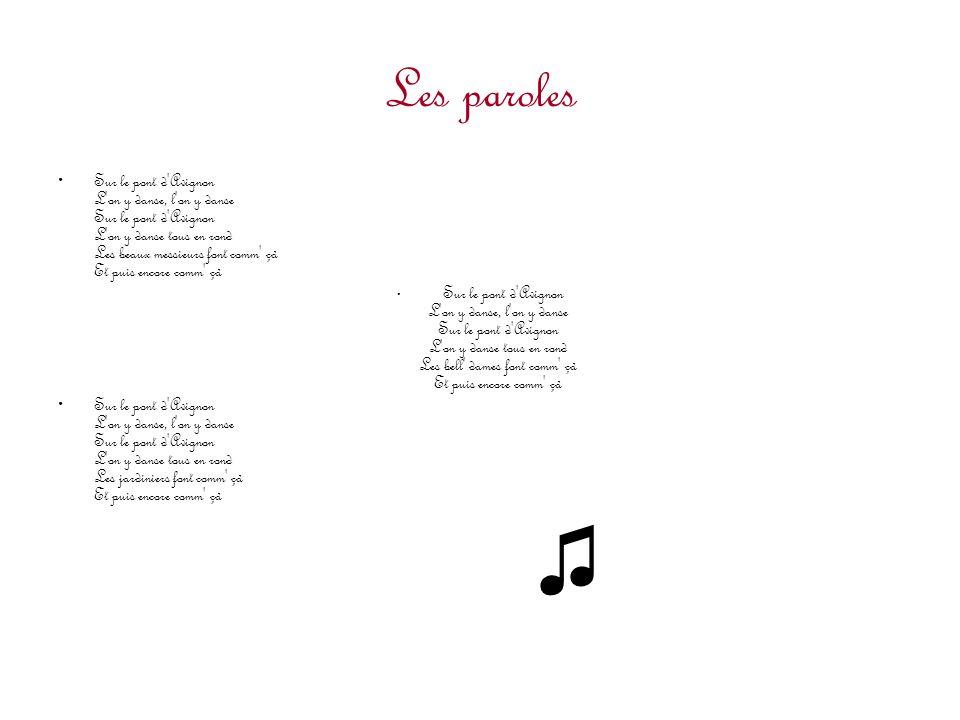 Les paroles Sur le pont d'Avignon L'on y danse, l'on y danse Sur le pont d'Avignon L'on y danse tous en rond Les beaux messieurs font comm' çà Et puis