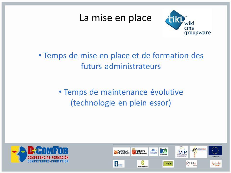 La mise en place Temps de mise en place et de formation des futurs administrateurs Temps de maintenance évolutive (technologie en plein essor)