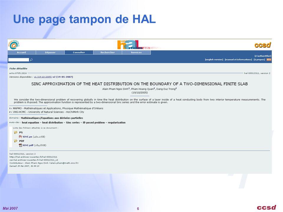 Mai 2007 6 Une page tampon de HAL