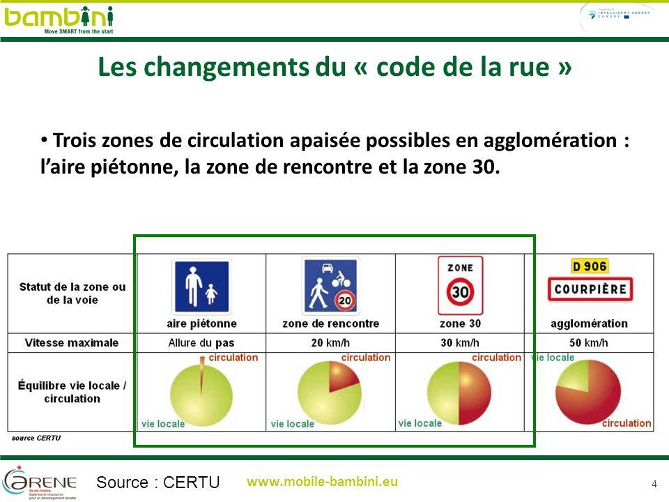 4 www.mobile-bambini.eu Trois zones de circulation apaisée possibles en agglomération : laire piétonne, la zone de rencontre et la zone 30.