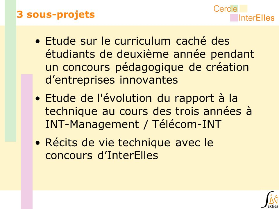 3 sous-projets Etude sur le curriculum caché des étudiants de deuxième année pendant un concours pédagogique de création dentreprises innovantes Etude