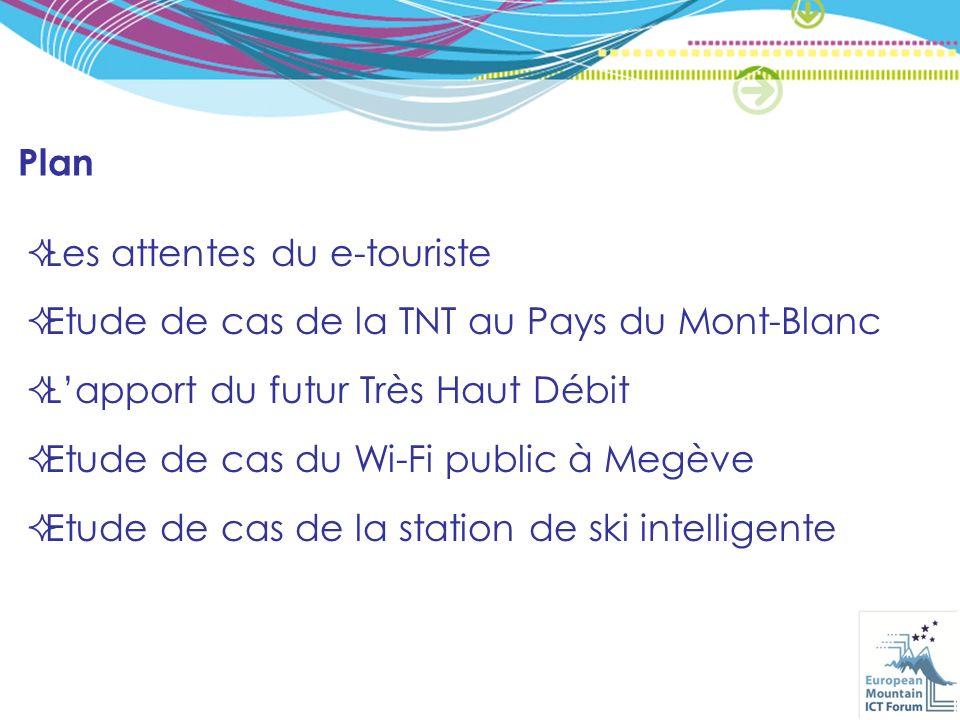 Plan Les attentes du e-touriste Etude de cas de la TNT au Pays du Mont-Blanc Lapport du futur Très Haut Débit Etude de cas du Wi-Fi public à Megève Etude de cas de la station de ski intelligente
