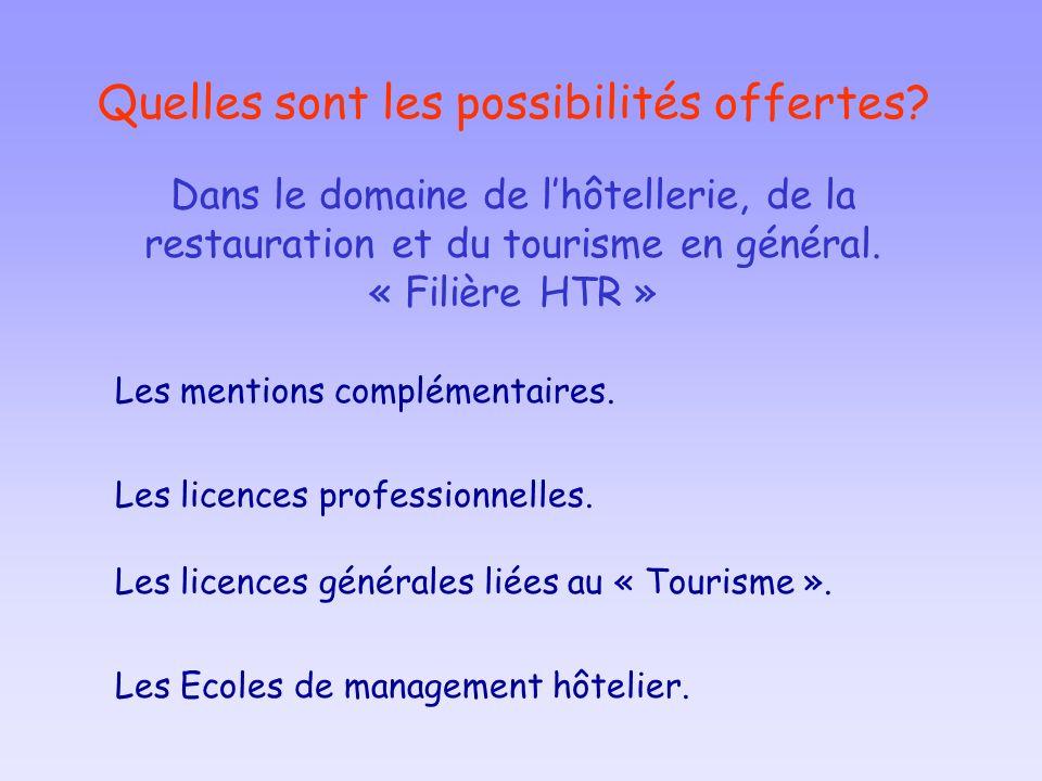Quelles sont les possibilités offertes? Les mentions complémentaires. Les licences professionnelles. Les licences générales liées au « Tourisme ». Dan