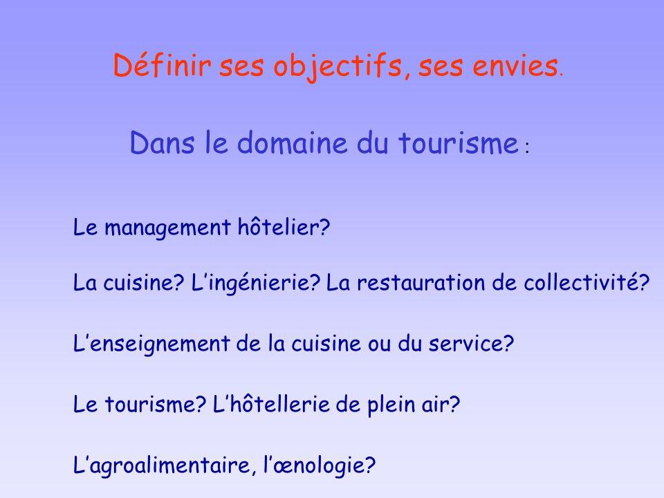 Définir ses objectifs, ses envies. Dans le domaine du tourisme : Le management hôtelier? La cuisine? Lingénierie? La restauration de collectivité? Lag