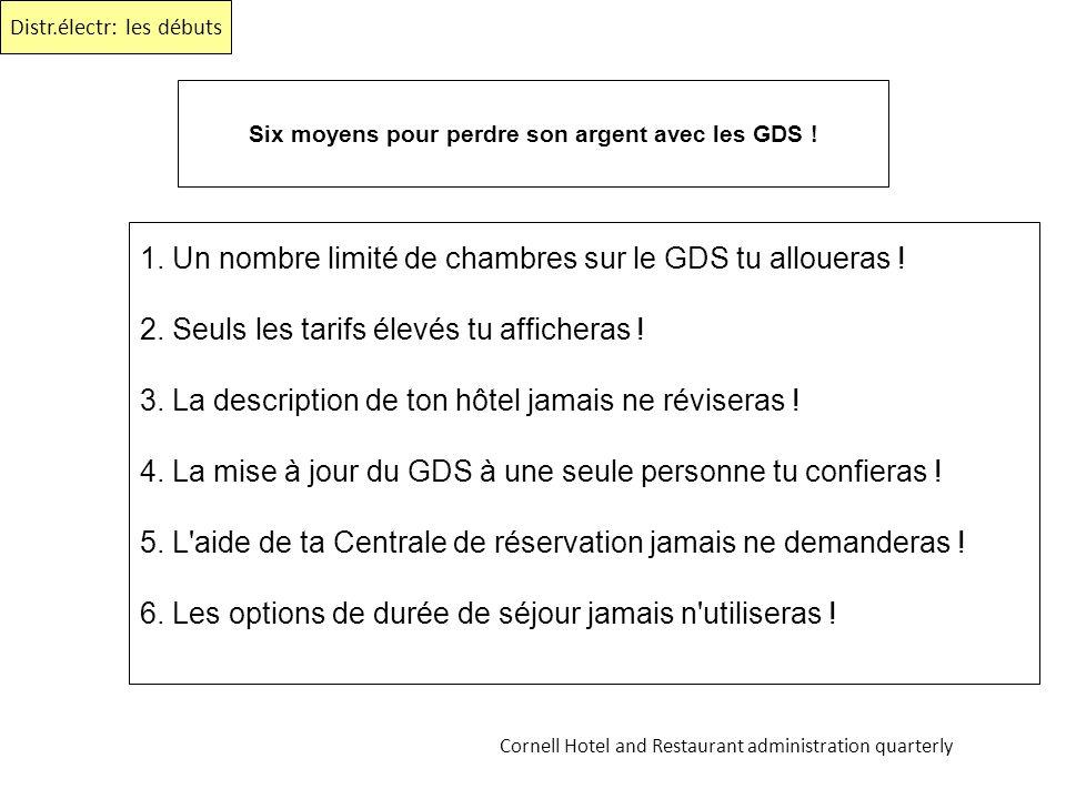 Six moyens pour perdre son argent avec les GDS ! 1. Un nombre limité de chambres sur le GDS tu alloueras ! 2. Seuls les tarifs élevés tu afficheras !