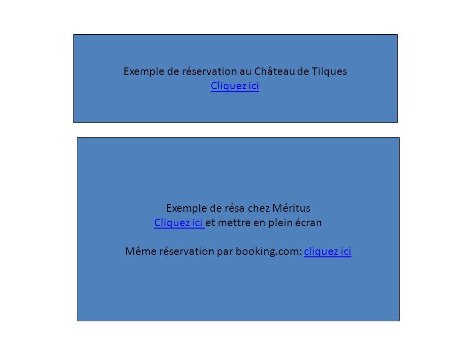 Exemple de résa chez Méritus Cliquez ici Cliquez ici et mettre en plein écran Même réservation par booking.com: cliquez icicliquez ici Exemple de rése