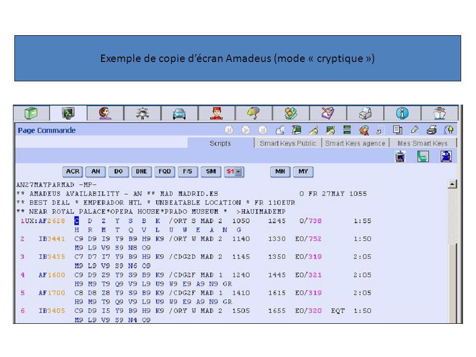 Exemple de copie décran Amadeus (mode « cryptique »)