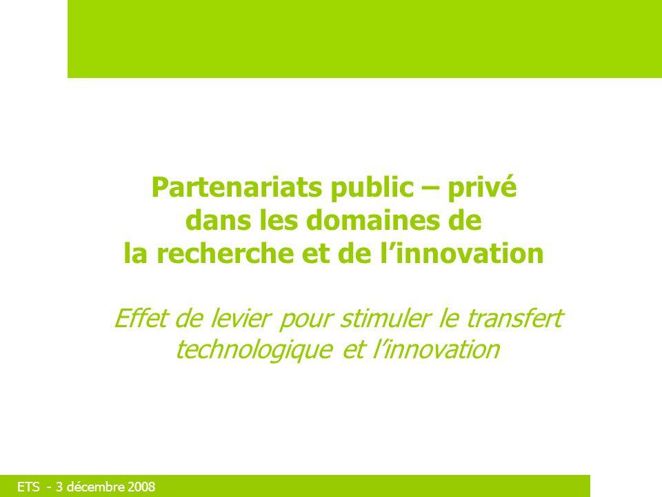 ETS - 3 décembre 2008 Partenariats public – privé dans les domaines de la recherche et de linnovation Effet de levier pour stimuler le transfert technologique et linnovation