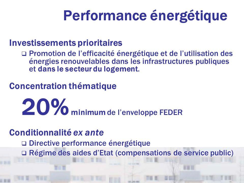 Performance énergétique Investissements prioritaires Promotion de lefficacité énergétique et de lutilisation des énergies renouvelables dans les infra