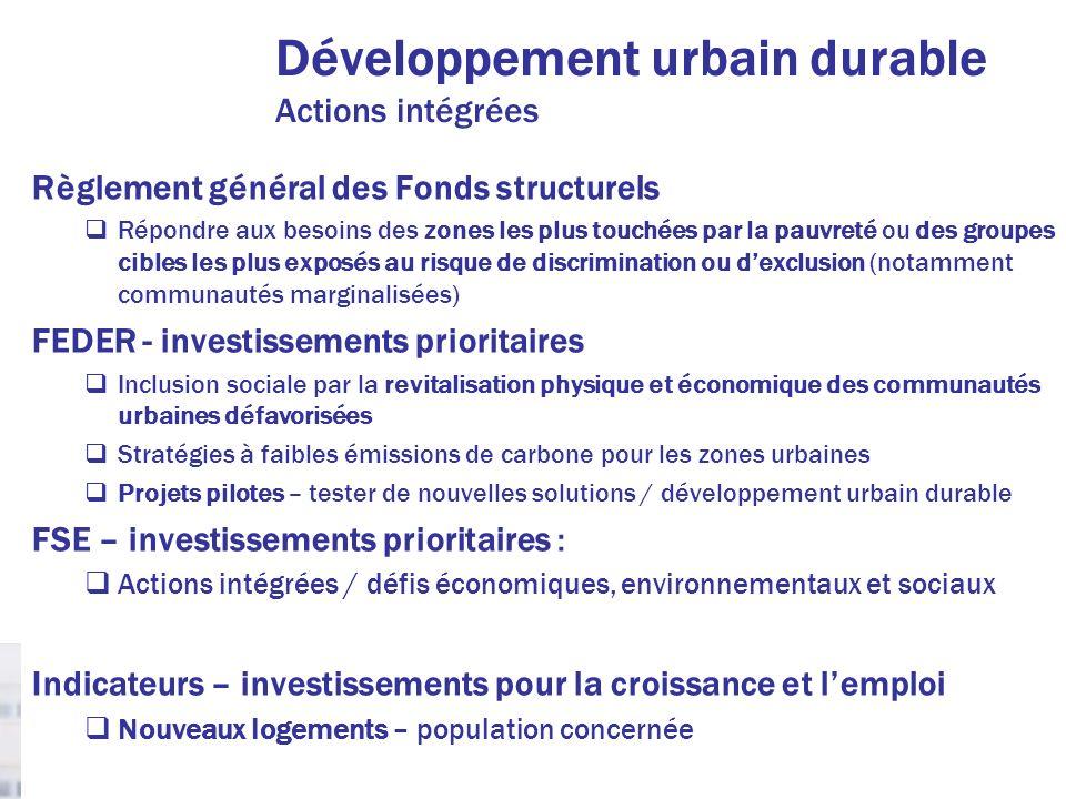Développement urbain durable Actions intégrées Règlement général des Fonds structurels Répondre aux besoins des zones les plus touchées par la pauvret