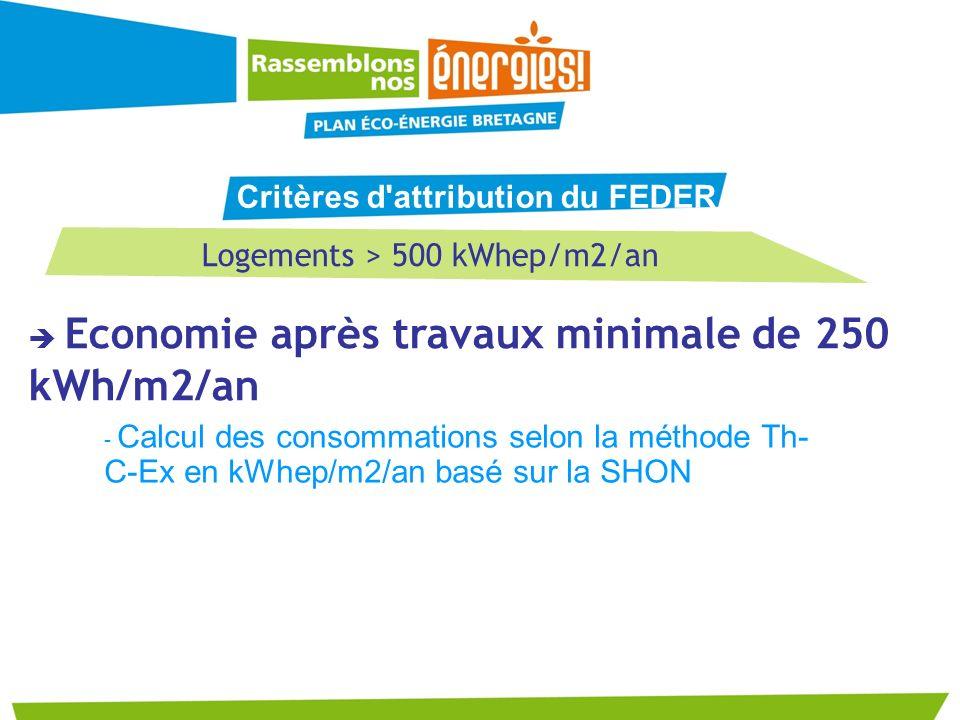 Logements > 500 kWhep/m2/an Economie après travaux minimale de 250 kWh/m2/an - Calcul des consommations selon la méthode Th- C-Ex en kWhep/m2/an basé