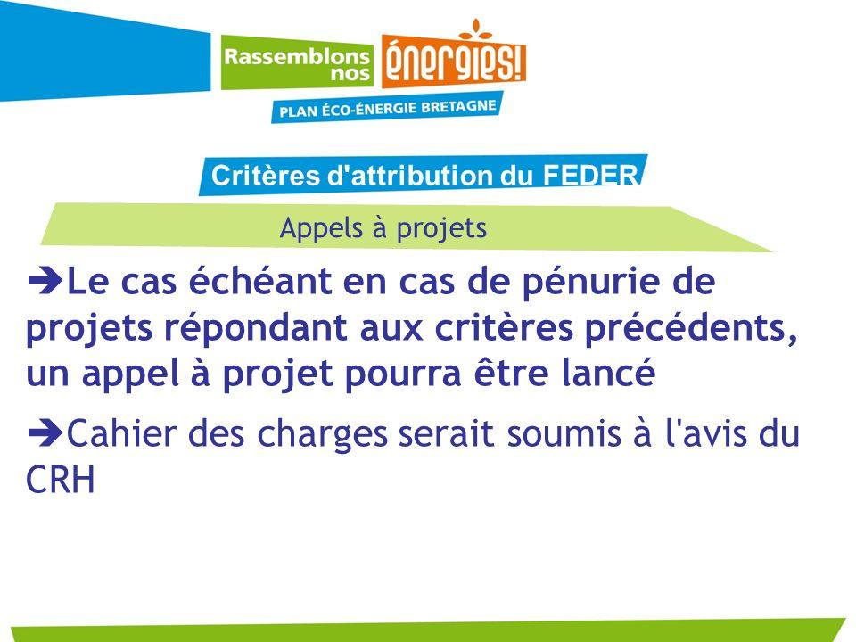 Appels à projets Le cas échéant en cas de pénurie de projets répondant aux critères précédents, un appel à projet pourra être lancé Cahier des charges