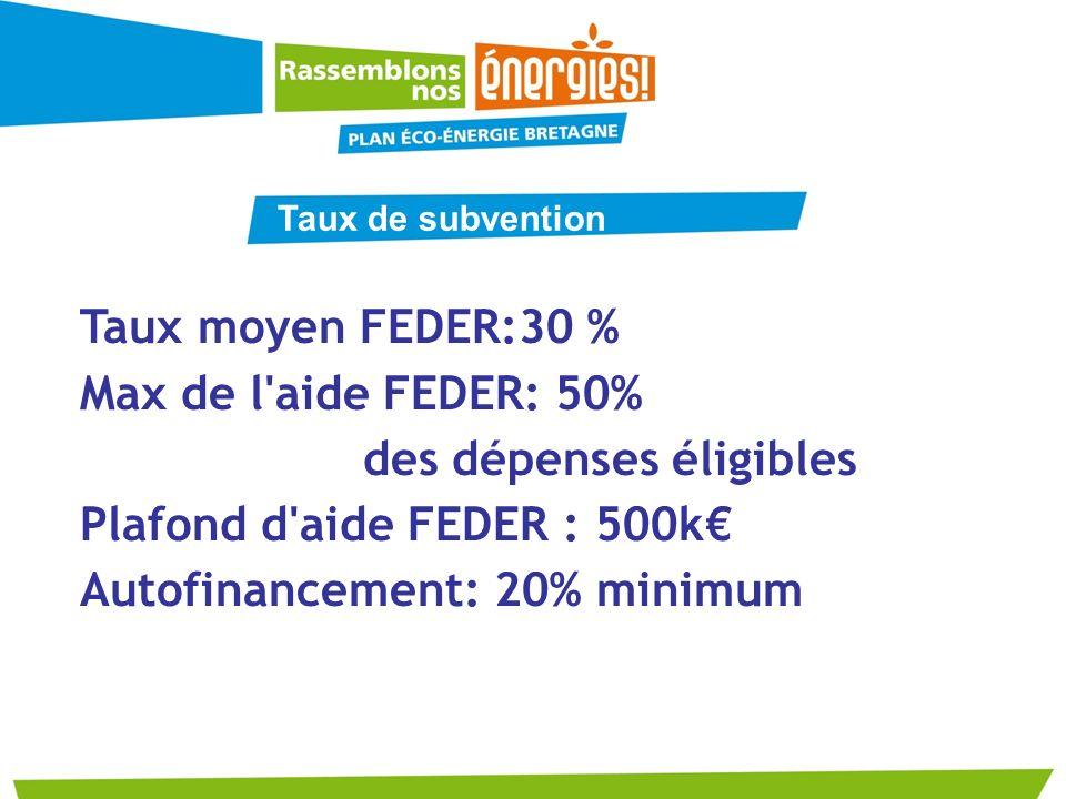 Taux moyen FEDER:30 % Max de l'aide FEDER: 50% des dépenses éligibles Plafond d'aide FEDER : 500k Autofinancement: 20% minimum Taux de subvention