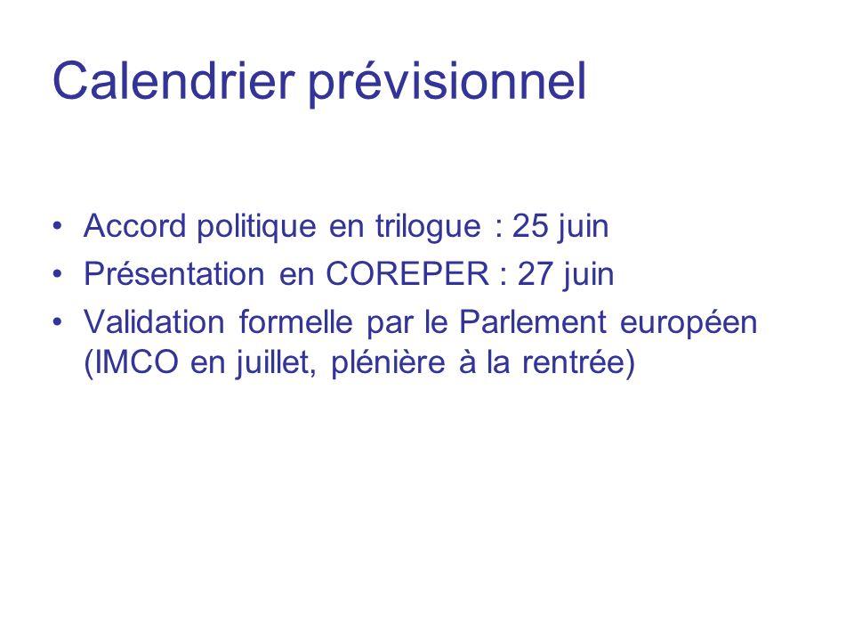 Calendrier prévisionnel Accord politique en trilogue : 25 juin Présentation en COREPER : 27 juin Validation formelle par le Parlement européen (IMCO e