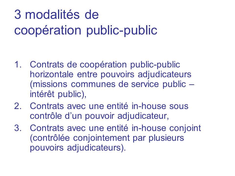 3 modalités de coopération public-public 1.Contrats de coopération public-public horizontale entre pouvoirs adjudicateurs (missions communes de servic