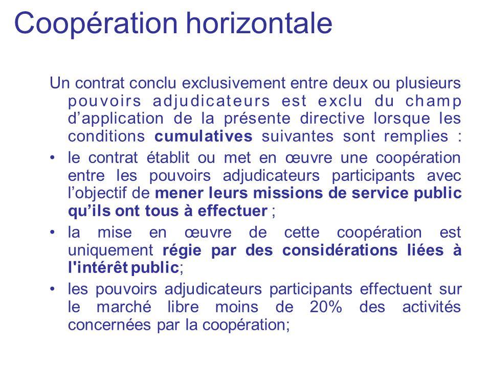 Coopération horizontale Un contrat conclu exclusivement entre deux ou plusieurs pouvoirs adjudicateurs est exclu du champ dapplication de la présente