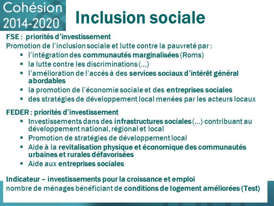 Inclusion sociale FSE : priorités dinvestissement Promotion de linclusion sociale et lutte contre la pauvreté par : lintégration des communautés margi