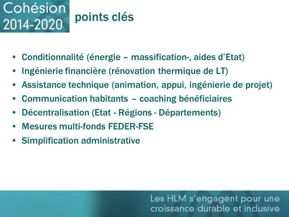 points clés Conditionnalité (énergie – massification-, aides dEtat) Ingénierie financière (rénovation thermique de LT) Assistance technique (animation