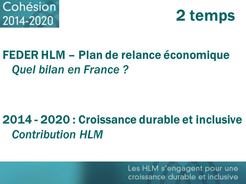 2 temps FEDER HLM – Plan de relance économique Quel bilan en France ? 2014 - 2020 : Croissance durable et inclusive Contribution HLM