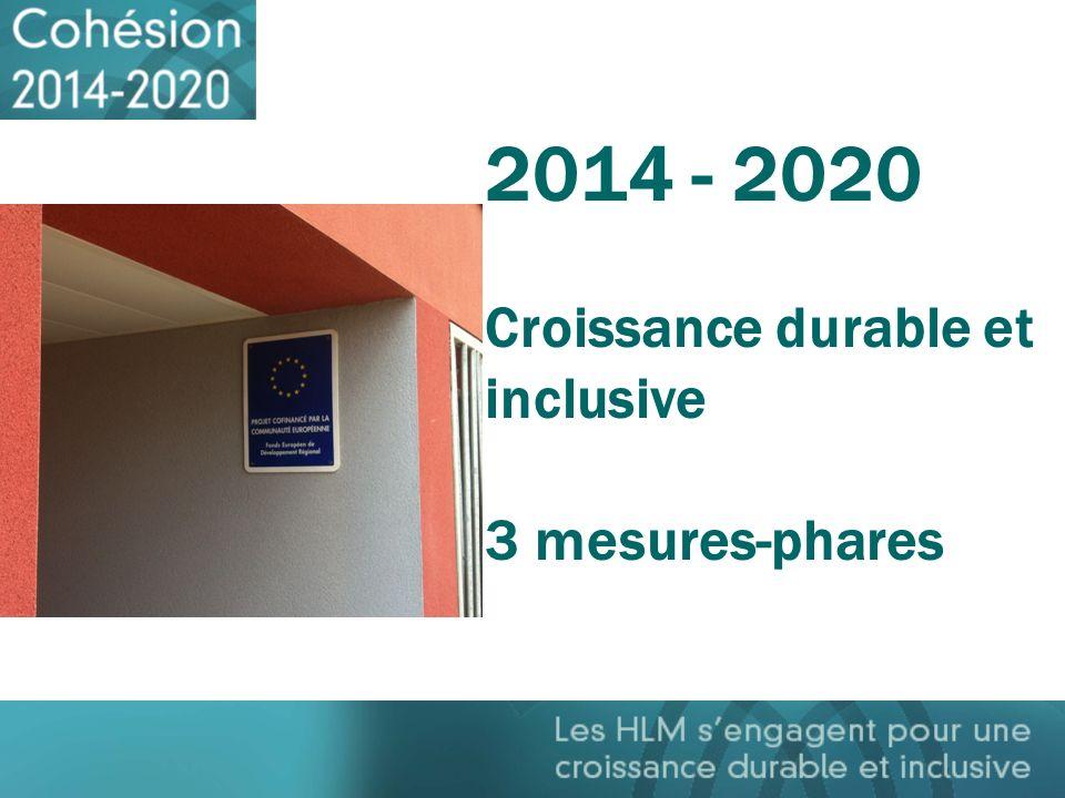 2014 - 2020 Croissance durable et inclusive 3 mesures-phares