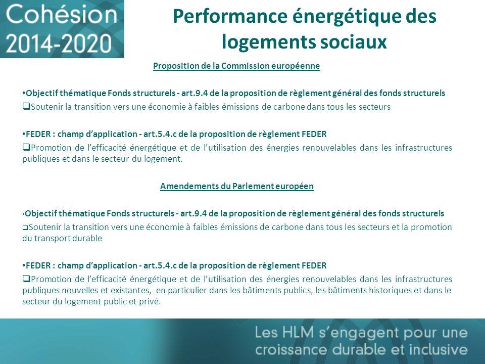 Performance énergétique des logements sociaux Proposition de la Commission européenne Objectif thématique Fonds structurels - art.9.4 de la propositio