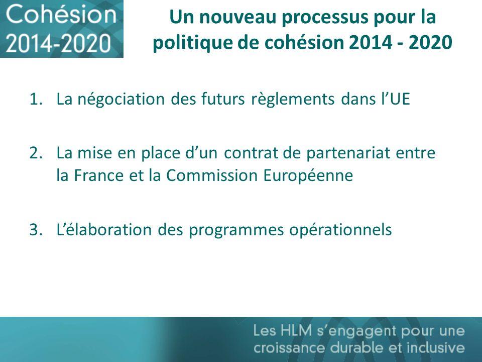 Un nouveau processus pour la politique de cohésion 2014 - 2020 1.La négociation des futurs règlements dans lUE 2.La mise en place dun contrat de parte