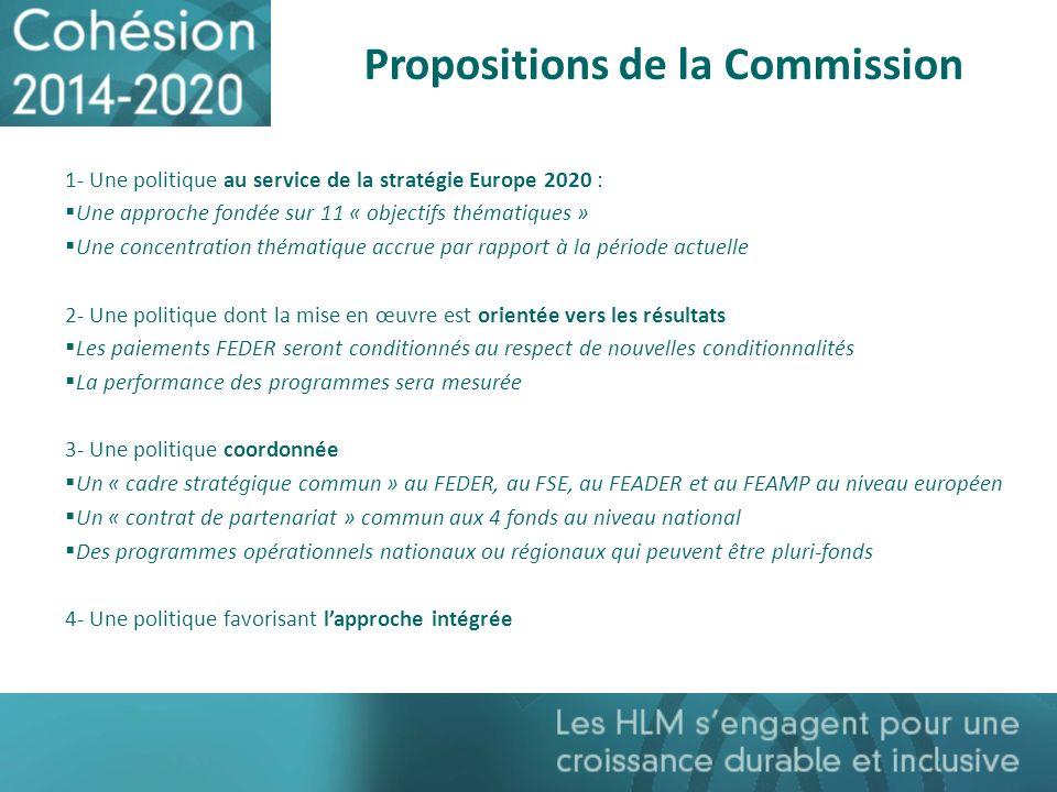 Propositions de la Commission 1- Une politique au service de la stratégie Europe 2020 : Une approche fondée sur 11 « objectifs thématiques » Une conce
