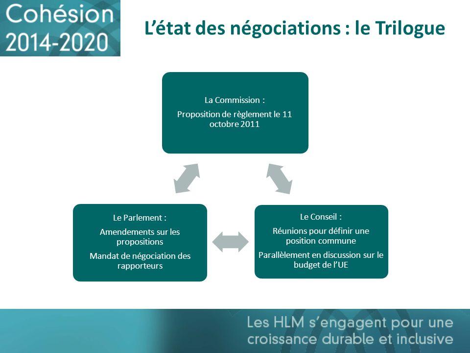 Létat des négociations : le Trilogue La Commission : Proposition de règlement le 11 octobre 2011 Le Conseil : Réunions pour définir une position commu