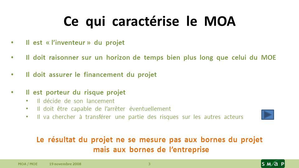 Ce qui caractérise le MOA Il est « linventeur » du projet Il doit raisonner sur un horizon de temps bien plus long que celui du MOE Il doit assurer le financement du projet Il est porteur du risque projet Il décide de son lancement Il doit être capable de larrêter éventuellement Il va chercher à transférer une partie des risques sur les autres acteurs MOA / MOE 19 novembre 2008 3 Le résultat du projet ne se mesure pas aux bornes du projet mais aux bornes de lentreprise