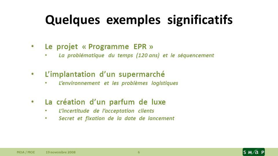 Quelques exemples significatifs Le projet « Programme EPR » La problématique du temps (120 ans) et le séquencement Limplantation dun supermarché Lenvi