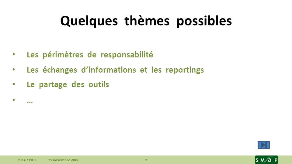Quelques thèmes possibles Les périmètres de responsabilité Les échanges dinformations et les reportings Le partage des outils … MOA / MOE 19 novembre
