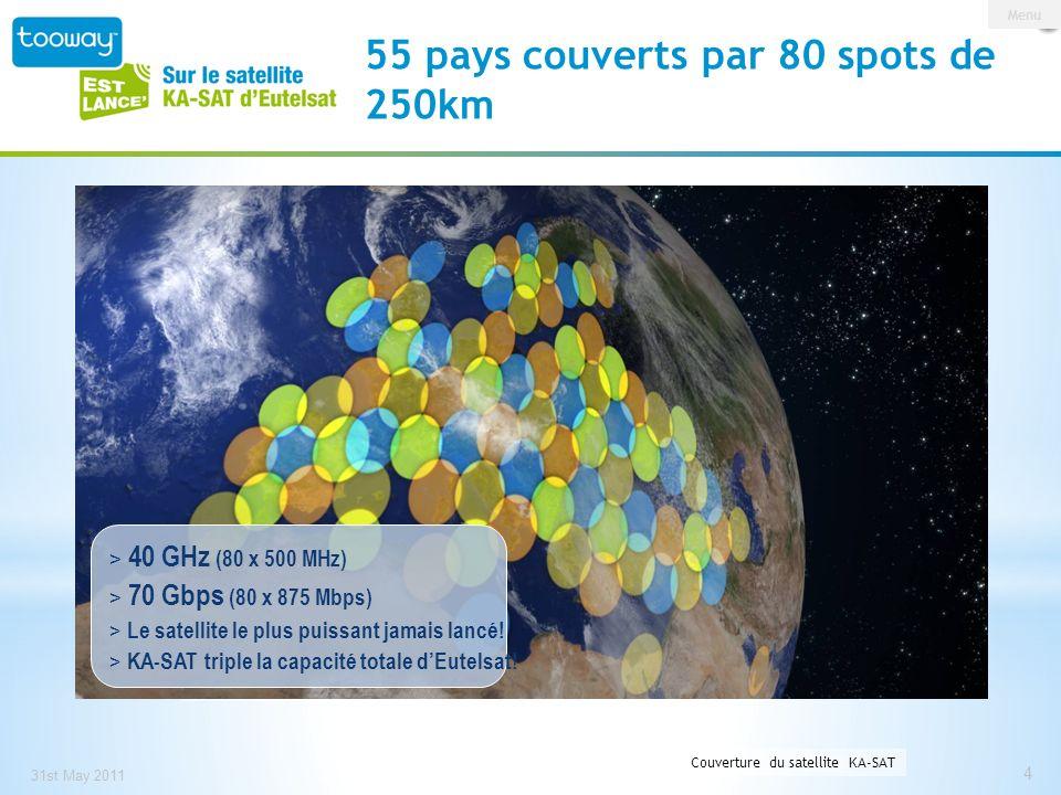 0 146 209 153 191 13 55 pays couverts par 80 spots de 250km 31st May 2011 4 Station maitresse à Turin, Italie Couverture du satellite KA-SAT Menu > 40