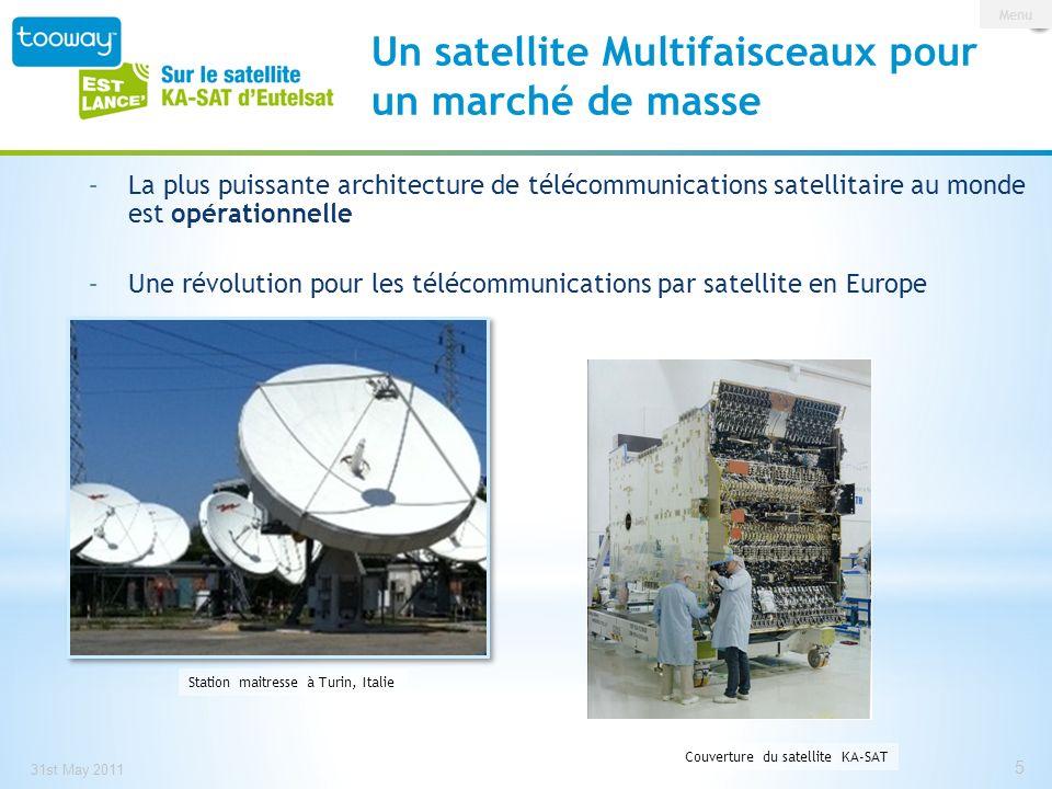 0 146 209 153 191 13 Un réseau IP pan-Européen 10 stations maitresses (gateways) réparties sur lEurope Reliés aux principaux PoPs Européens Système satellitaire intégré utilisant la technologie ViaSat SurfBeam® 2 Eutelsat est une entreprise française Une des dix stations est située à Rambouillet (téléport dEutelsat) Satellite fabriqué en France à Toulouse par EADS Astrium 31 st May 2011 6 Infrastructure IP pan-européenne Un projet français Menu 6