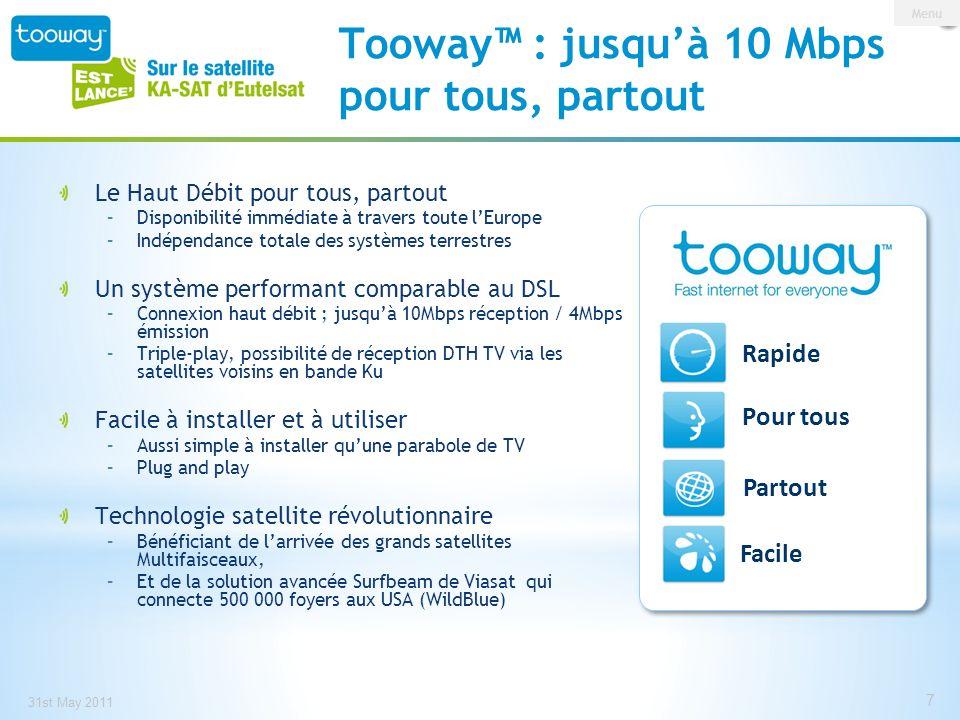 0 146 209 153 191 13 Facile à installer et à utiliser Contenu du kit –Modem –Émetteur/récepteur TRIA –Antenne de 77cm Aide à linstallation –Système intégré daide au pointage –Vidéos dinstallation en ligne –Application KA-SAT finder pour Tooway, web & smartphone (iPhone/iPod/iPad) Information clients: –www.tooway.comwww.tooway.com –www.eutelsat.comwww.eutelsat.com –www.skylogic.comwww.skylogic.com 31st May 2011 8 Menu