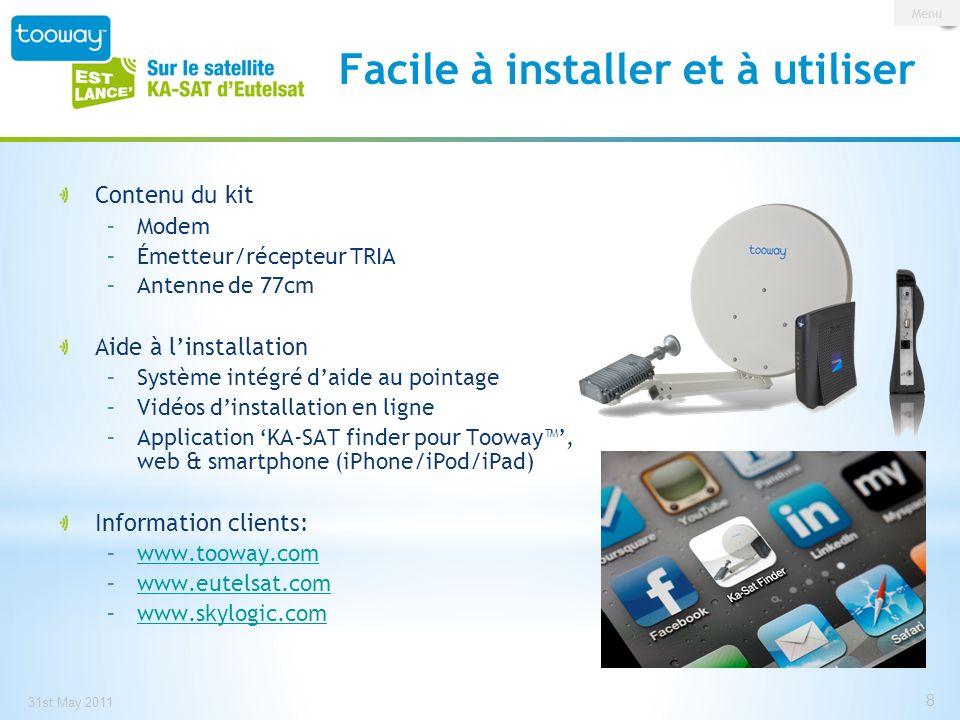 0 146 209 153 191 13 Source: Orange 31 st May 2011 9 Tooway en France depuis 2008 Plus de 450,000 foyers sans haut débit, et 3 millions sous la barre des 2 Mbps (Source: ARCEP) Plan France Numérique 2012, lancé en Octobre 2008 Rendre accessible à chaque citoyens laccès à tous les réseaux et services digitaux Dès 2008 Eutelsat et ses partenaires SFR, Numeo et Sat2Way, ont lancé des services haut débit à moins de 35/mois, en accord avec le Plan Besson En 2008 Tooway via le satellite HOTBIRD 6 (en bande Ka), et maintenant via KA-SAT Orange ADSL coverage Tooway en France La Fracture Numérique en France Menu 9
