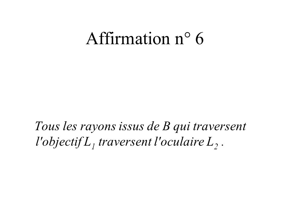 Affirmation n° 6 Tous les rayons issus de B qui traversent l'objectif L 1 traversent l'oculaire L 2.